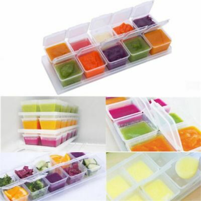 Baby Kids Weaning Tray Pots Food Freezing Cubes Storage Containers Box 10pcs