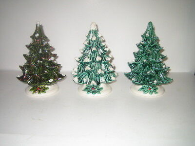 """Lot of 3 Vintage Ceramic Christmas Tree's with bases 7.5"""" T x 6""""W Green/White"""