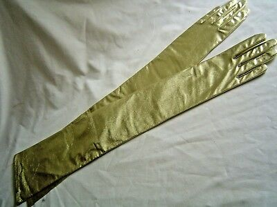 "Gold Lame Formal Gloves 23"" Long 3 Buttons New"