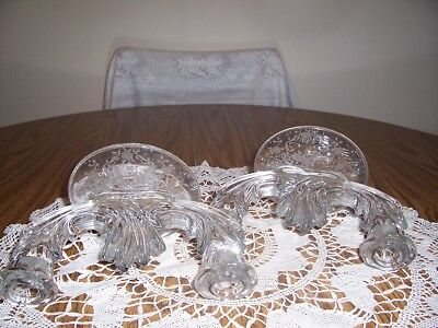 Pair Of Elegant Glass Double Candle Holders