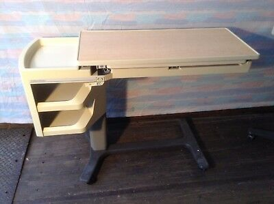 Hillrom Patient Mate Over The Bed Table With Side Caddy Good Condition Light Top