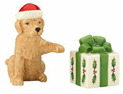 Lenox Holiday Puppy and Present Salt and Pepper Set~NIB