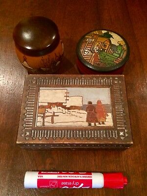Vintage Old Russian Wooden Box Lot/Set #7, excellent condition