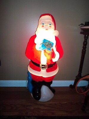 vintage 1971 empire plastic blow mold santa outdoor christmas decoration - Vintage Plastic Outdoor Christmas Decorations