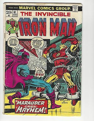IRON MAN #61  BRONZE AGE MARVEL 1973 - vs. THE MARAUDER GD 2.0 READER!!!