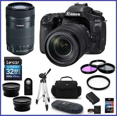 Canon EOS 80D DSLR Camera with 18-135mm f/3.5-5.6 IS USM + 55-250mm STM Bundle!!