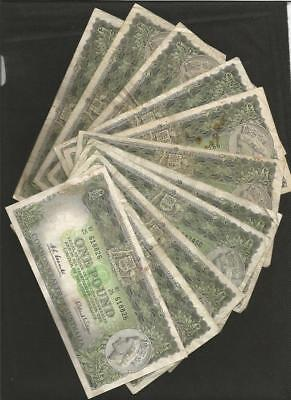 1961 One Pound X 11 - Coombs/wilson - *reserve Bank* - Elizabeth Ii - Circulated