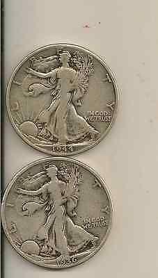 Silver Walking Liberty Half Dollar Lot Of 2 Coins