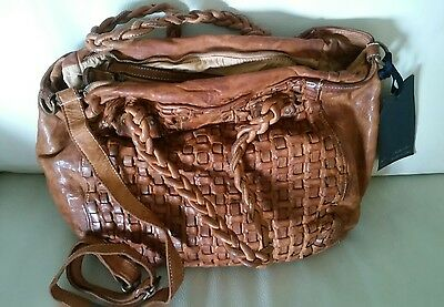 NWT~Made in Italy~LANGELLOTTI~Satchel/Shoulder Bag Vintage Woven TAN Leather-Med
