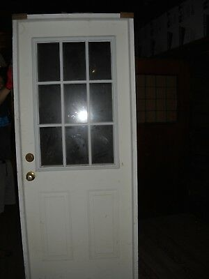 """White Prefinished Colonial 9-Lite Steel Door 32 """" W,  82"""" Tall USED $120.00"""