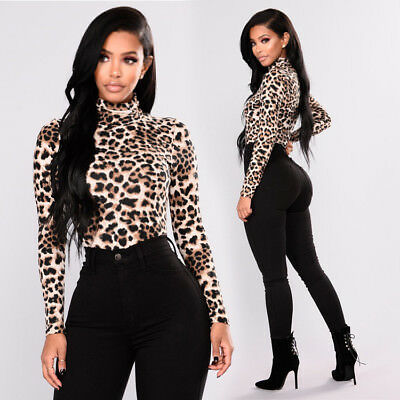 Sexy Womens Leopard Long Sleeve Casual Blouse   Loose Tops T Shirt  Fashion