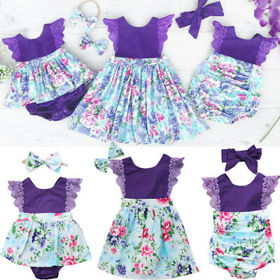 Newborn Baby Girl Sister Matching Floral Clothes Jumpsuit Romper Dress Outfits G