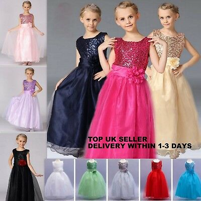 Girls Long Sequin Wedding Dress Bridesmaid Flower Girl Prom Party Communion