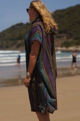 Hooded Poncho Change Towel - Microfibre - Stripes