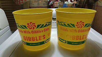 Lot of 2 Old Vintage Gibble's Potato Chip Advertising Buckets Chambersburg PA