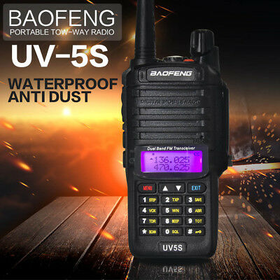 Baofeng UV-5S Walkie Talkie Two Way FM Radio VHF/UHF Waterproof  IP67 Dual Band
