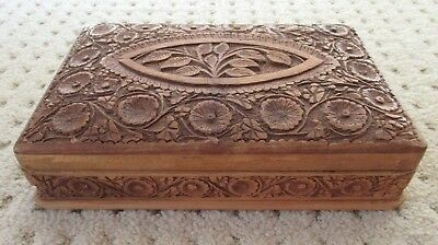 "Beautiful Vintage Hand Carved Wood Floral Hinged Box - 9.25"" x 5.75"" x 2.5"""