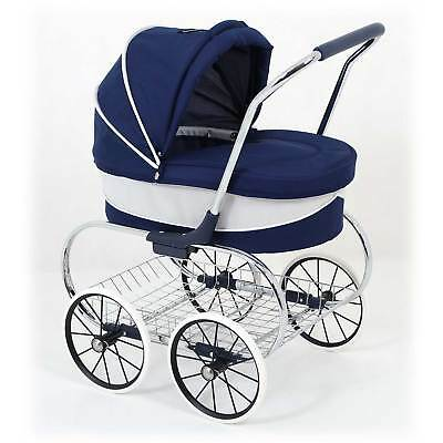 Valco Baby Just Like Mum Deluxe Princess Doll Pram Stroller Navy