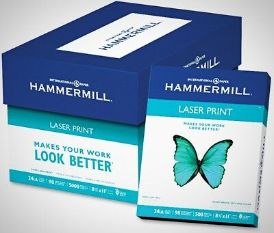Hammermill Laser Print Paper 24lb 98 Bright 8 1/2 x 11 Ream Letter Size New