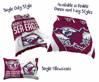 Manly Sea Eagles 2018 NRL Quilt Cover Doona Single Double Queen King Pillowcase
