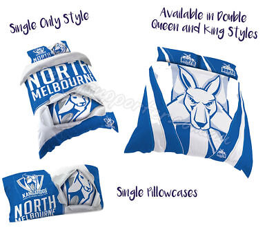 North Melbourne Kangaroos 2018 AFL Quilt Cover Doona Pillowcase All Sizes