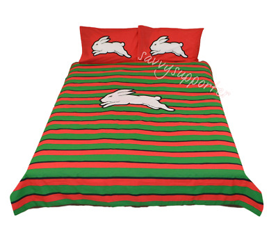 South Sydney Rabbitohs NRL Quilt Cover Set Single Double Queen Doona Duvet BNIP6
