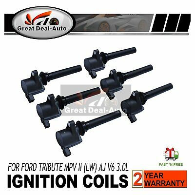 Set of 6 Ignition Coils for Ford Escape BA ZA ZB 3.0L Mazda Tribute Mazda MPV LW