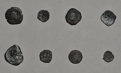 Authentic Spanish Caribbean Pirate Shipwreck 17th Century Cob Coins Set of 8