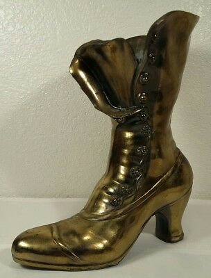 """9.5"""" Vintage Cast Iron Brass Plated Victorian Style Boot Planter"""