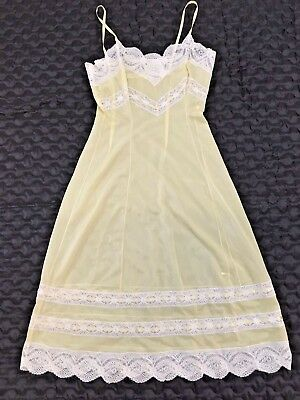 VINTAGE 1960'S Dupont SATIN Yellow NYLON & LACE FULL SLIP Retro