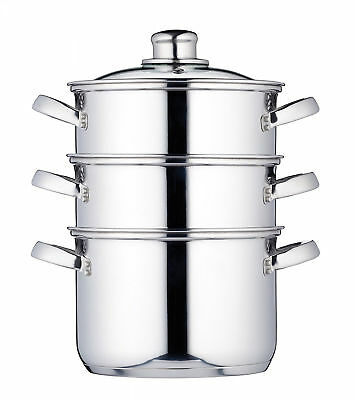 "Induction-Safe Stainless Steel 3-Tier Food Steamer Pan Stock Pot, 18 cm (7"")"