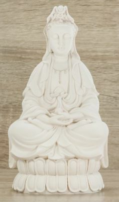 Quan Yin Sitting in Meditation Holding Pearl of Wisdom Ivory 250mm