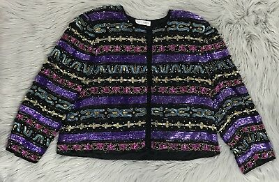 Vintage Tait Mate 100% Silk Beaded Sequin Cropped Short Jacket Size M/L