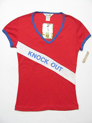 vintage 70s NEW DEADSTOCK KNOCK OUT V-NECK RINGER FITTED nwt babydoll t-shirt M