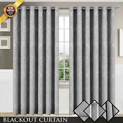 Grey Thermal Blackout Curtains Ring Top Eyelet & Pencil Pleat With FREE Tie back