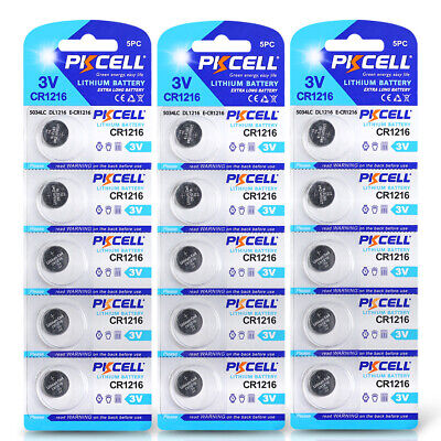 15x PKCELL Lithium CR1216 Battery 3V Button Coin Cell DL1216 KRC1216 For Watch
