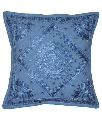 New 1 Pcs  Blue Handmade Indian Traditional Cushion Cover Ethnic Decor Art 16""