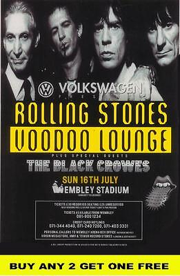 THE ROLLING STONES 1995 Voodoo Lounge Laminated Tour Poster