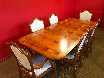 Art Deco Grand Regency Style Burr Yew Tree Dining Table Set Pro French Polished