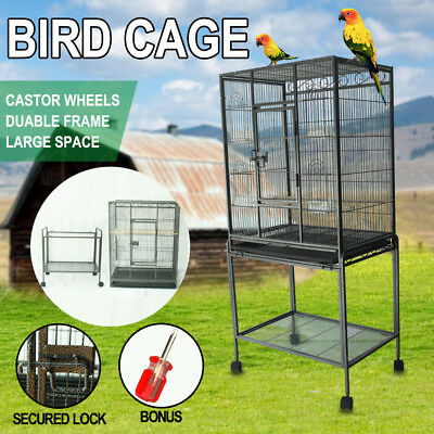Pet Bird Cage Parrot Aviary Stand-alone Budgie Perch Castor Wheels Large 135cm