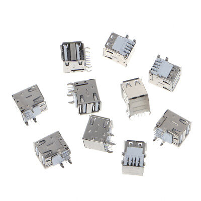 10 Pcs Dual USB 2.0 Female Type A 8-Pin DIP Right Angle Jack Socket Connector