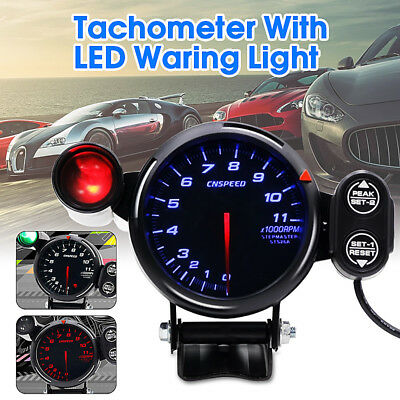 3.5''Stepper Car LED Tachometer Tacho Rev Gauge 0-11000RPM W/Shift Warning Light