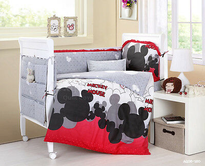 Mickey Baby Crib Cot Quilt Sets Pillow Case Nursery Bedding Set Cartoon 9 pcs