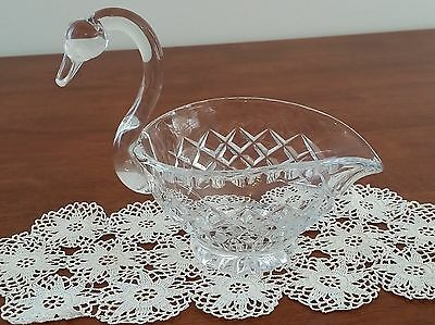 Vintage Mid Century CLEAR CRYSTAL Dressing Table SWAN Trinket Basket Holder