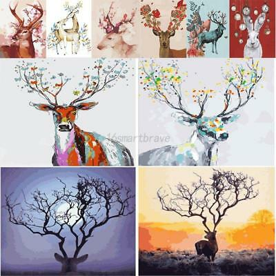 AU Deers DIY Digital Oil Painting Kits Paint by Numbers Canvas Home Wall Decor