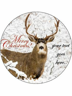 Christmas stag merry xmas personalised Wafer or Icing edible Round Cake topper