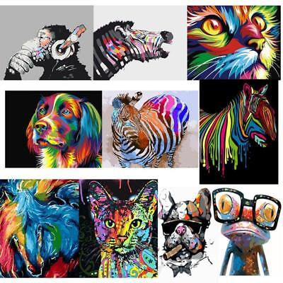 AU Frameless Paint By Number Kit Multi-Colored Cat Dog Zebra Animals Painting