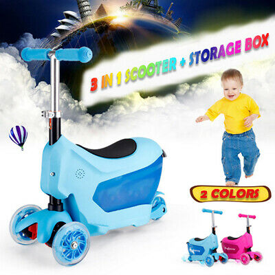 New 3 in 1 Kids Toddler Toy 3 Wheel Baby Trike Tricycle Ride Push Scooter Walker
