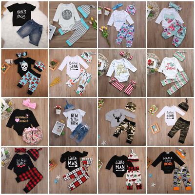 Newborn Kid Baby Boys Girls Romper Bodysuit Jumpsuit Sunsuit Clothes Outfits Set
