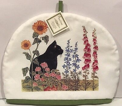 Alice's Cottage Cotton Tea Cozy BLACK CAT GARDEN Cosy - Made in the U.S.A. - New